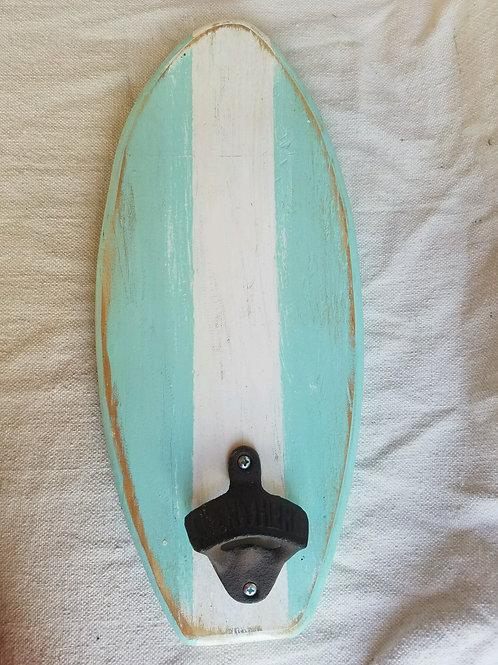 Bottle Opener - Surfboard - Sea Foam with White Stripe