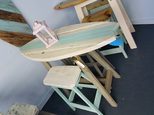 Surfboard Bar - 4ft- Whitewash Top Sea Foam Stripe - 2 Stools