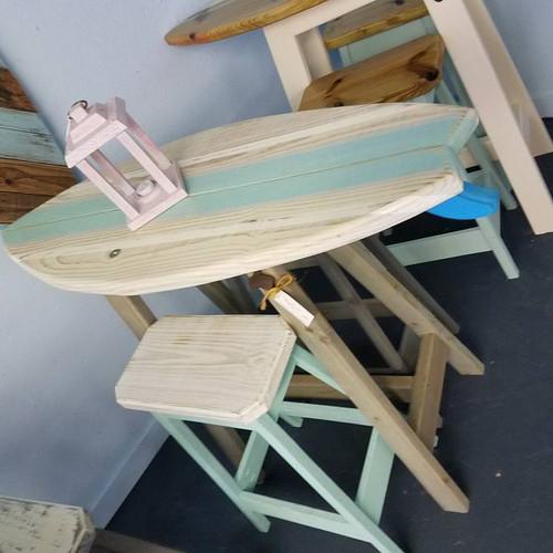 Surfboard tables state tables bottle openers more surfboard bars surfboard bar 4ft whitewash top sea foam stripe 2 stools watchthetrailerfo