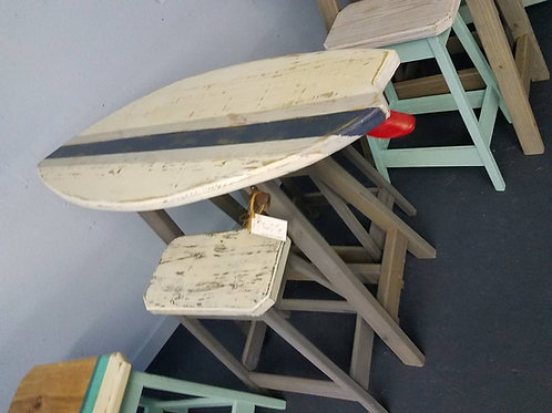 Surfboard Bar - 4ft- Distressed White Top Navy & White Diag. Stripe - 2 Stools
