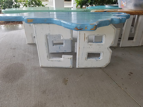 State Table - NC - CB - White legs with Carolina Blue top