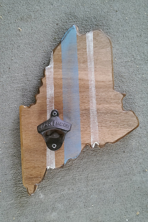 Bottle Opener - State - ME - Stain - Brown - Gray and White Stripes