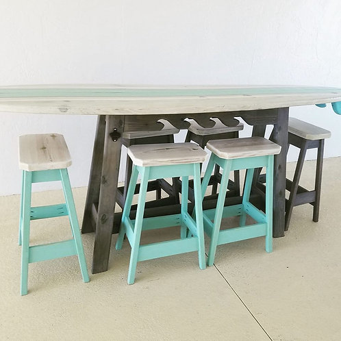 Surfboard Bar - 8ft- Whitewash and Sea Foam and White Striped Top - 6 Stools