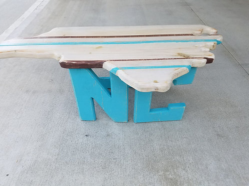 State Table - NC - Teal legs, White top with teal and Brown stripes