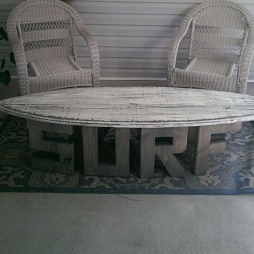 Surfboard Table - 6 ft - Gray stained legs, White distressed top