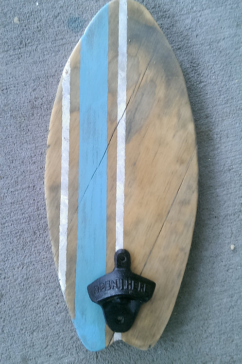 Bottle Opener - Surfboard - Stain - Light Brown, Carolina Blue and White stripes