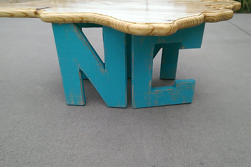 State Table - NC - Teal legs, Natural top