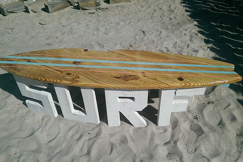Surfboard Table - 6 ft - White legs, Natural top with Sea Foam and Pink Stripes
