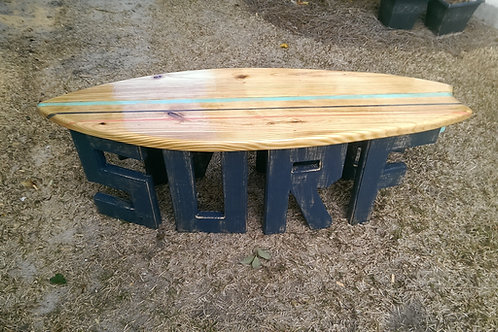 Surfboard Table - 6 ft - Nautical Blue legs, Natural top with Sea Foam and Navy