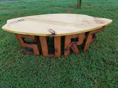 Surfboard Table   4 Ft   Natural Top With Shark Bite With Dark Stained Legs