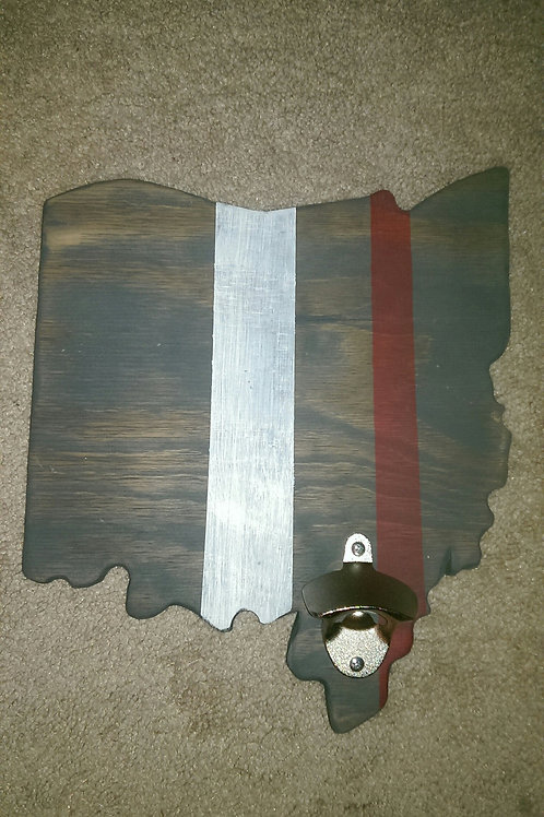 Bottle Opener - State - OH - Stain - Brown, White and Red Stripes