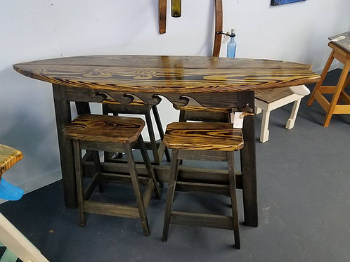 Surfboard Bar - 6ft- Dark Stain - 4 Stools