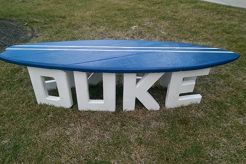 Surfboard Table - 6 ft - White legs, Duke Blue top