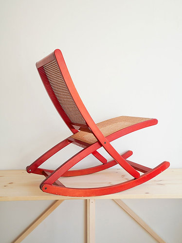 Cane and Wood Rocking Chair