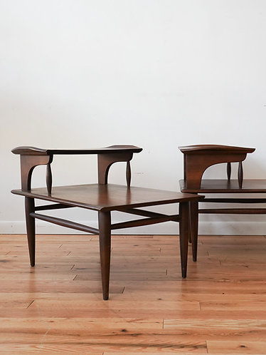 Pair of Walnut End Tables by Bassett Furniture Co.