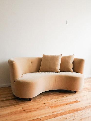 1960s Beige Mohair Velvet Curved Sofa