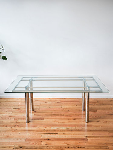 1970s Chrome and Glass Dining Table