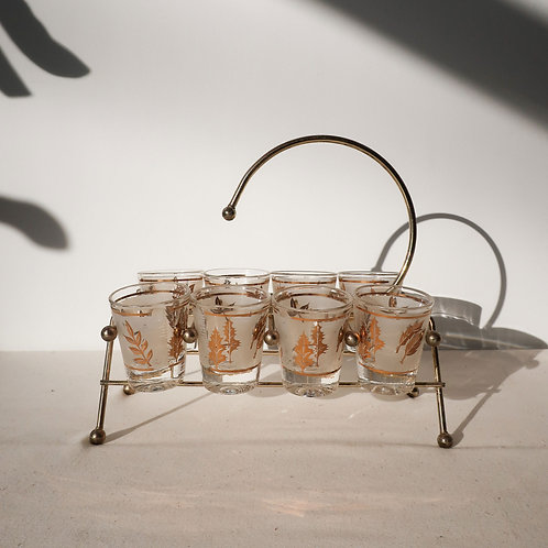 Vintage Libbey Shot Glasses with Brass Stand