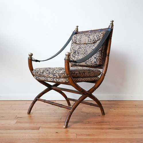 1970s Drexel Campaign Faux Bamboo Armchair