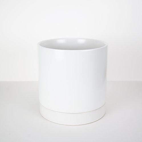 White Ceramic Planter with Drain Dish