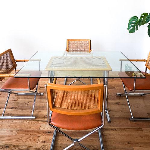 1970s Cane & Chrome Dining Set
