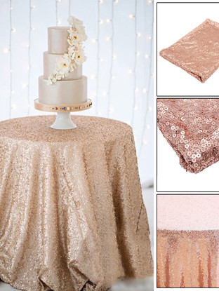 Rose Gold Sequin Cake Tablecloth