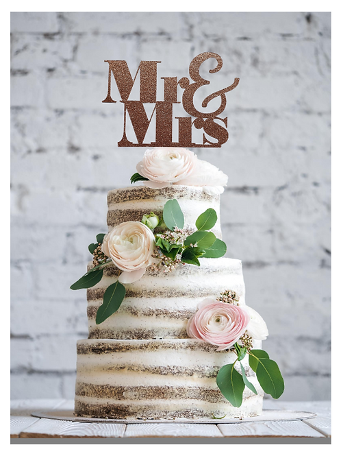 Mr & Mrs Glitter Card Topper