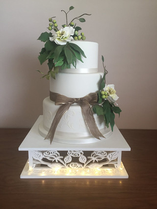 Square Wooden Cake Stand (Optional Lights)