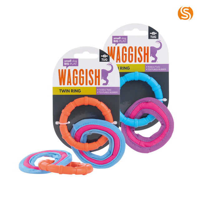 Twin Ring Rubber Dog Toy