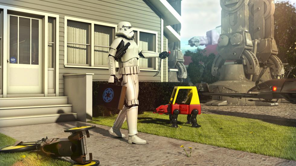 Stormtrooper going to work.