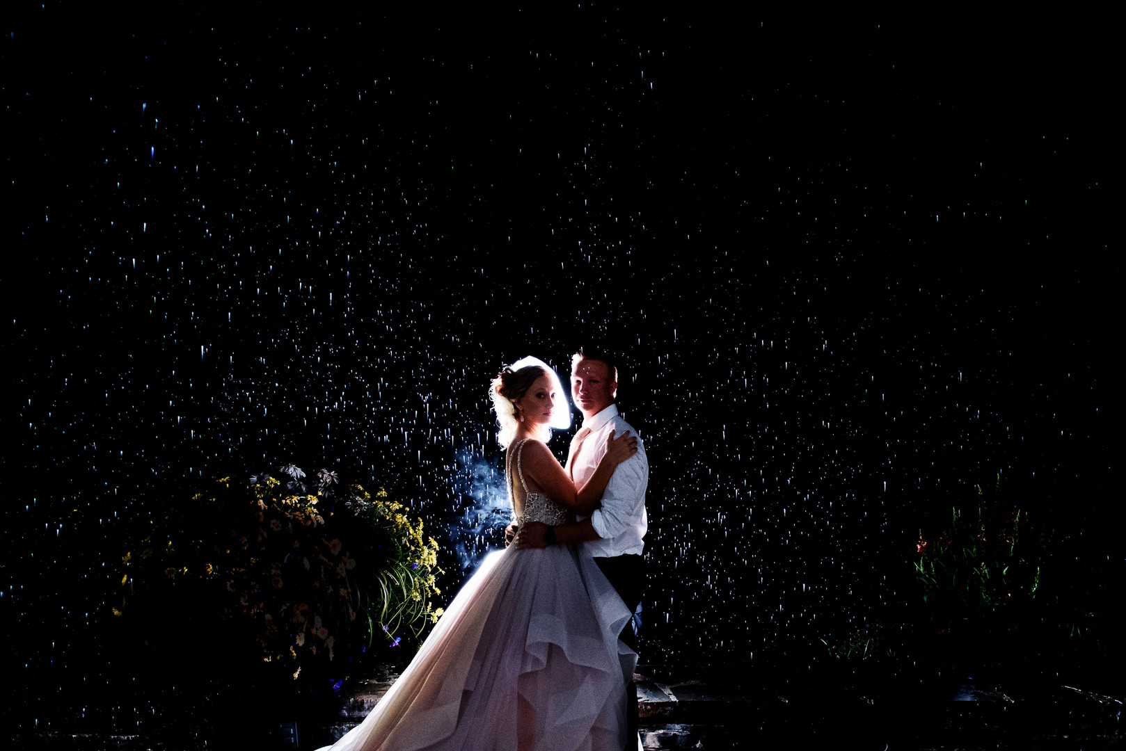 Rainy night on a wedding day isn't so bad!