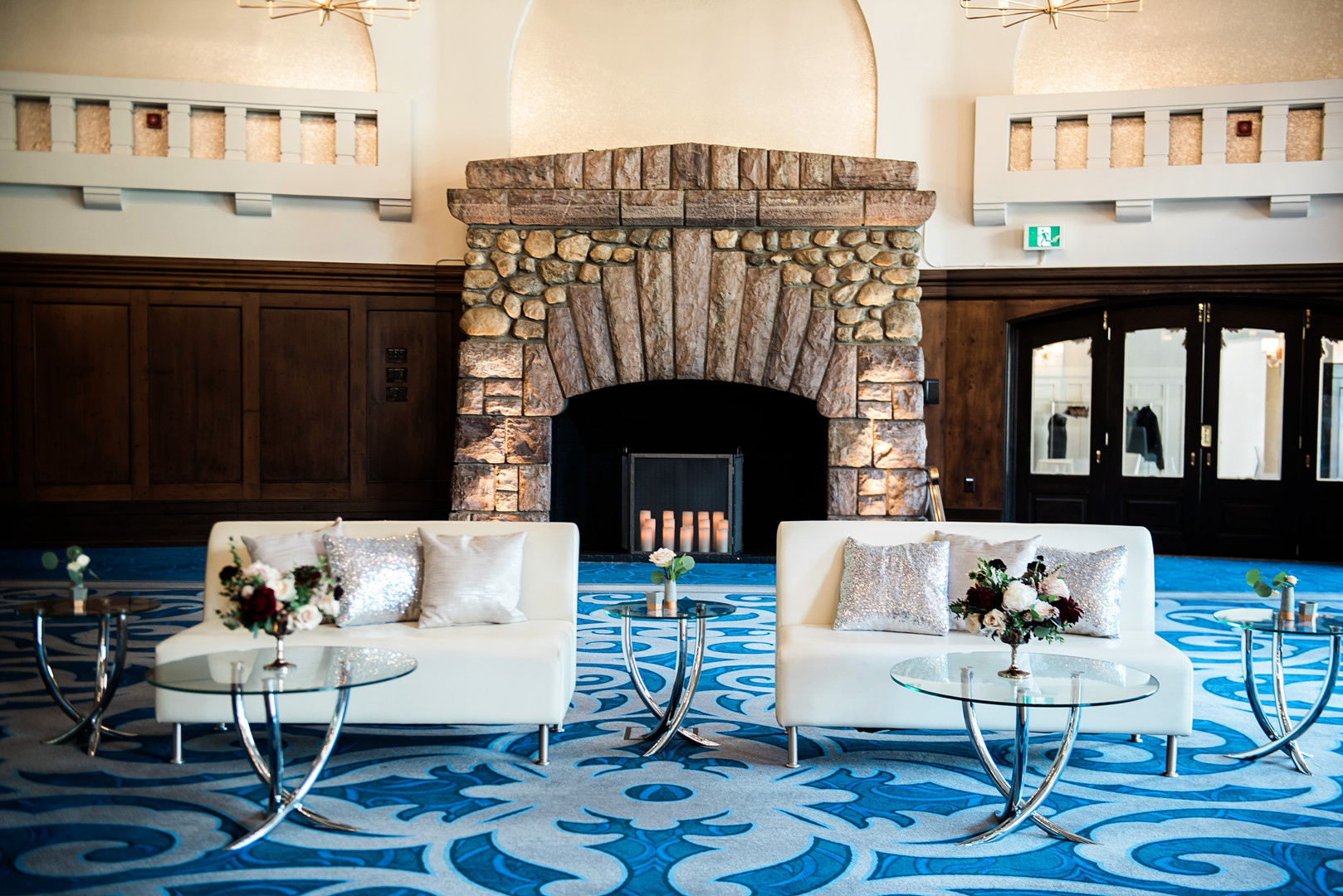 Lounge seating at Lake Louise photographed for Mountain Bride Events