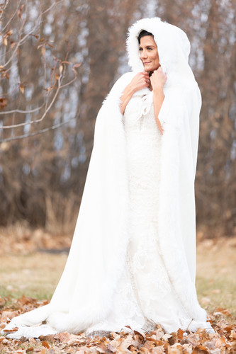 A winter cloak perfect for a cold wedding day