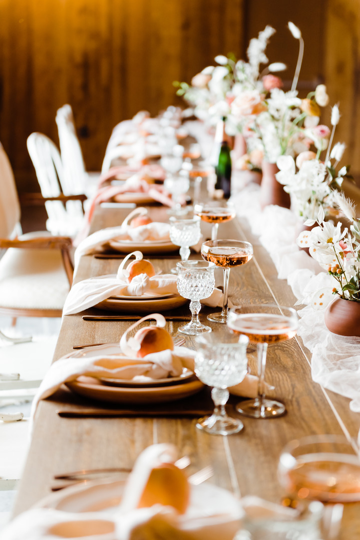 Just Peachy wedding table setting by the talented Orange Trunk Styling and Rentals