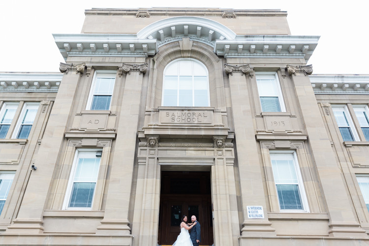 When you marry your high school sweetheart, you just have to have your wedding photos there!