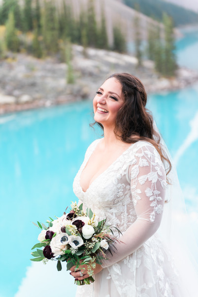 Moraine Lake elopement with this stunning bride