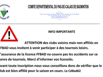 ATTENTION : participations aux tournois de clubs non affiliés
