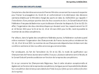 Annulation des Circuits Jeunes ( CIJ, CEJ )