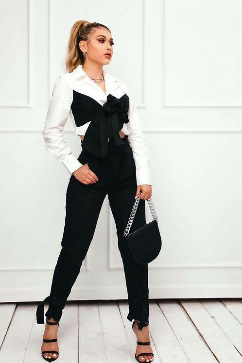 Divine black/white pant suit