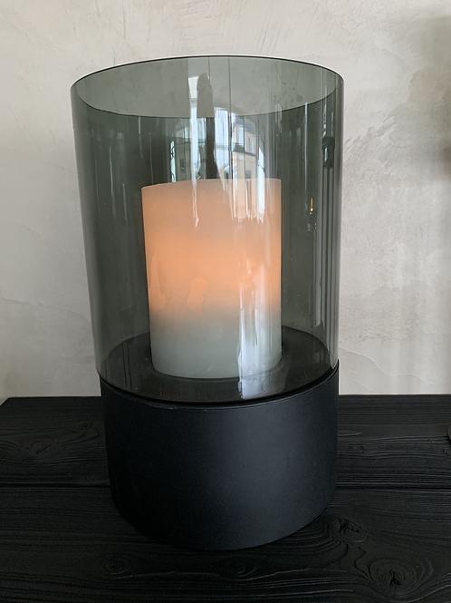 Windlicht smoked glas/zwart