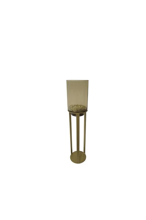 Windlicht mini topaz glas goud