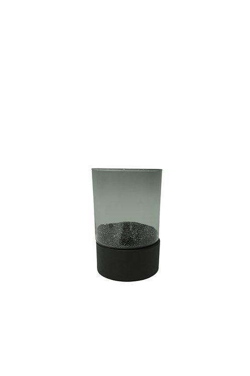 Windlicht mini smoked glas/zwart