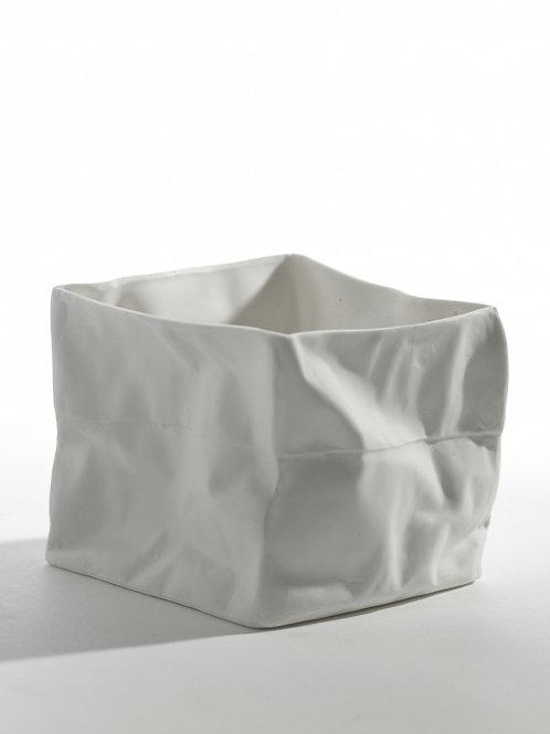 Porselein theelicht M in de vorm van een papierzak