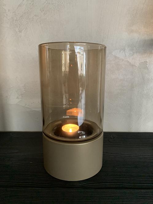 Windlicht mini topaz glas/goud