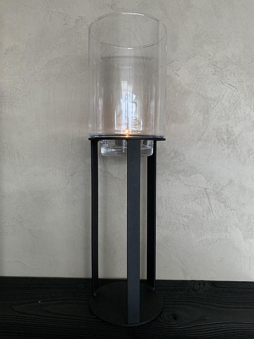 Windlicht zwart/helder glas M