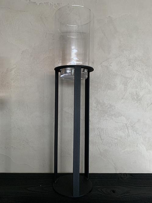Windlicht zwart/helder glas L
