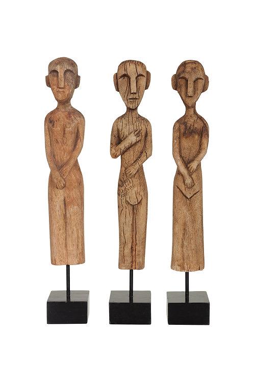 Africanfigures naturel set van 3