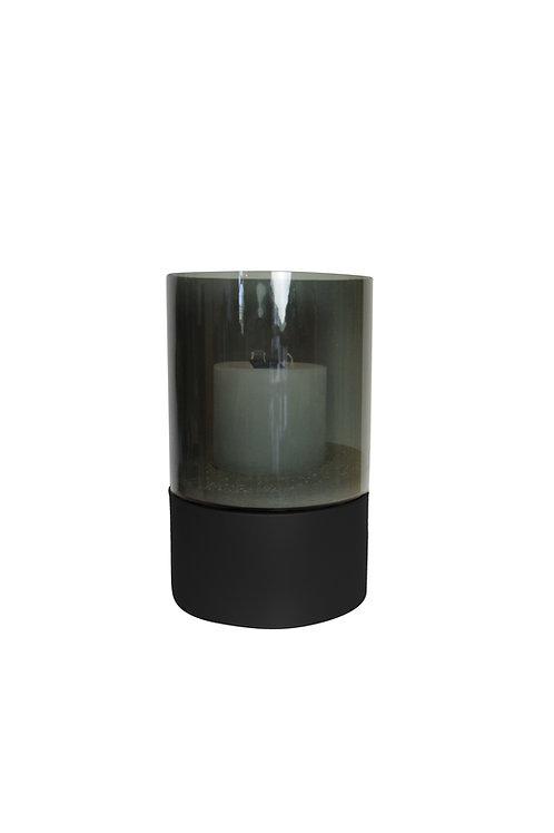 Windlicht smoked glas/zwart incl holle kaars