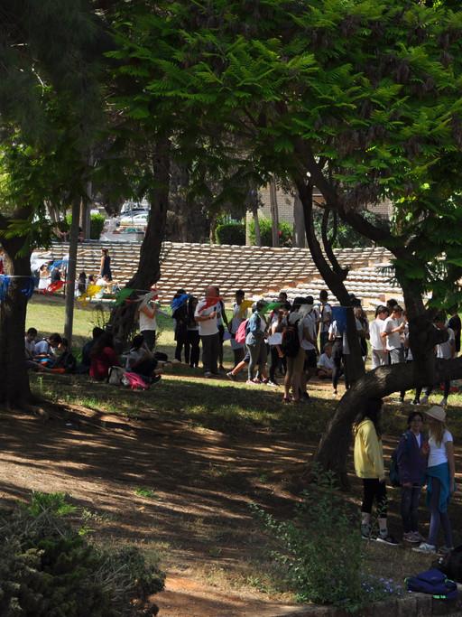 Le parc du campus et son amphithéâtre servent tout au long de l'année aux festivités nationales; ici, la commémoration du Yom Yeroushalaïm en son jubilé de réunification.