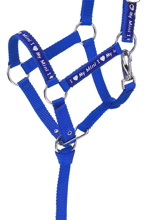 "Nylon halter features a sparkly ""I Love My Mini"" ribbon overlay"